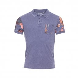 Polo The Fresh Brand bleu chiné à imprimé fleurs