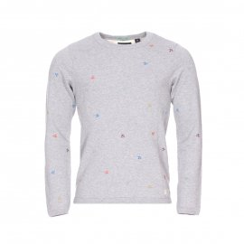 Sweat col rond Scotch & Soda en coton gris brodé de palmiers multicolores