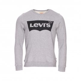Sweat col rond Levi's Junior gris chiné floqué en noir