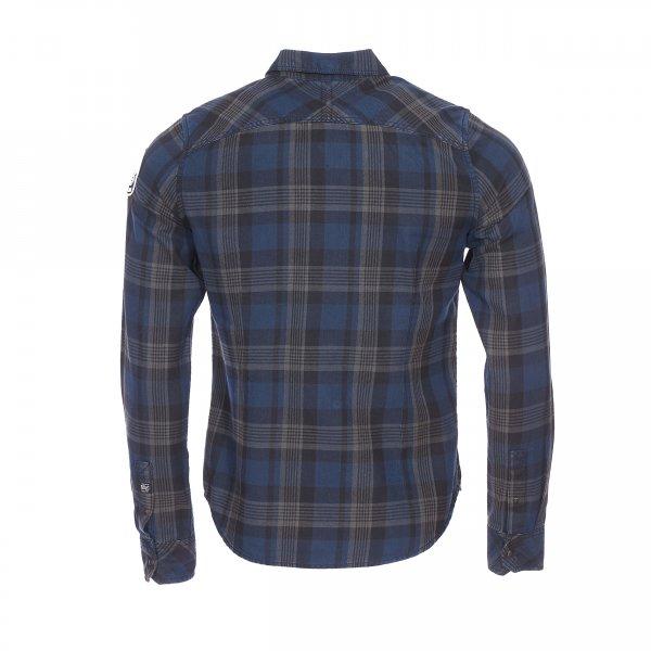 chemise petrol industries junior en coton carreaux bleu marine marron clair et noires rue. Black Bedroom Furniture Sets. Home Design Ideas