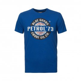 Tee-shirt col rond Petrol Industries Junior en coton bleu roi floqué en noir, blanc et orange