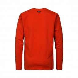 Tee-shirt manches longues col rond Petrol Industries Junior en coton orange floqué