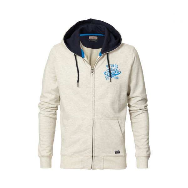 Sweat zippé à capuche Petrol Industries Junior en coton mélangé crème chiné