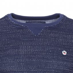 Sweat Sutter Teddy Smith Junior en mailles  bleu marine chiné