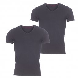 Lot de 2 tee-shirts col V Athena en coton stretch noir