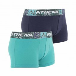 Lot de 2 boxers Athena Junior en coton stretch menthe et cassis