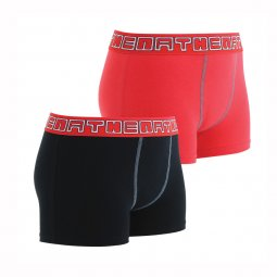 Lot de 2 boxers Athena Junior en coton stretch noir et rouge