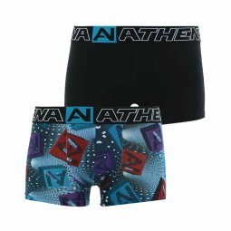 Lot de 2 boxers Athena Junior en coton stretch noir et imprimé vortex