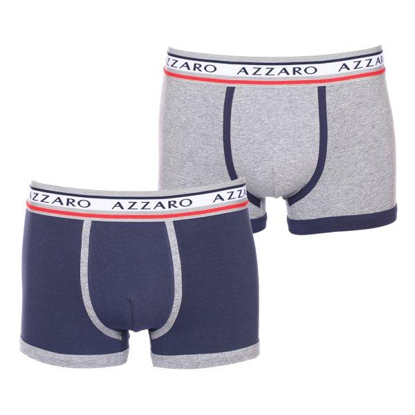 lot de 2 boxers azzaro en coton stretch gris chin et bleu marine rue des hommes. Black Bedroom Furniture Sets. Home Design Ideas