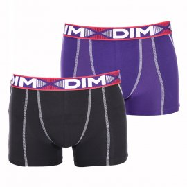 Lot de 2 boxers Dim 3D Flex Air en coton stretch aéré et extensible noir et violet