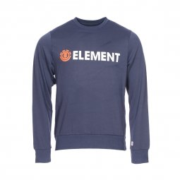 Sweat col rond Element bleu floqué en blanc