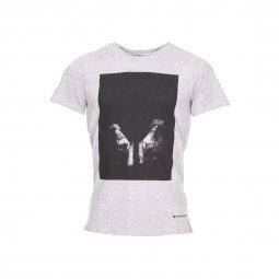 4cb76ced88b6a Tee-shirt col rond Freeman T.Porter gris clair chiné à imprimé  photographique ...