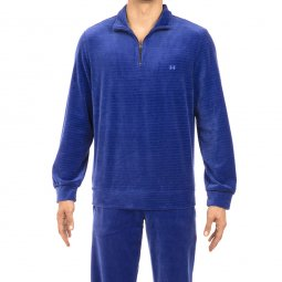 Pyjama long Hom en velours : sweat col zippé et pantalon bleu roi