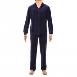 Pyjama long Hom en velours : sweat zippé et pantalon bleu marine