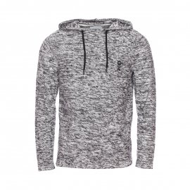 Sweat à capuche Jack & Jones noir chiné de blanc en mailles