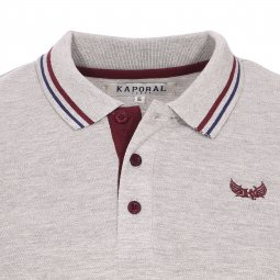 Polo manches longues Kaporal Junior en coton gris chiné
