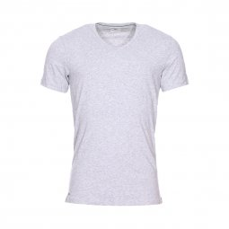 Lot de 2 tee-shirts col V Lacoste en coton stretch gris chiné