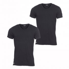 Lot de 2 tee-shirts col V Lacoste en coton stretch noir
