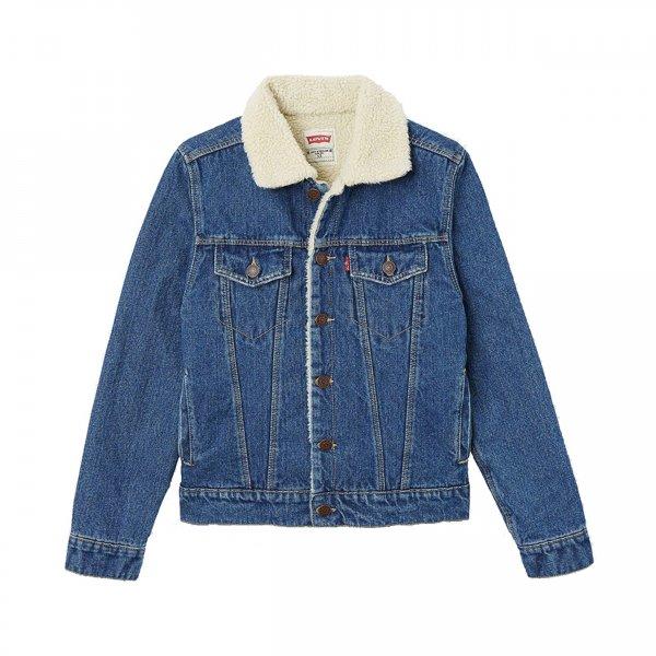 veste levi 39 s junior en jean bleu doublure effet peau de mouton rue des hommes. Black Bedroom Furniture Sets. Home Design Ideas