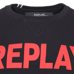 Sweat col rond Replay en coton noir floqué du logo