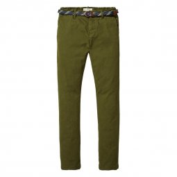 Pantalon slim chino Scotch & Soda Junior kaki
