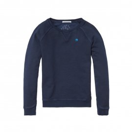 Sweat col rond Scotch & Soda Junior bleu marine brodé
