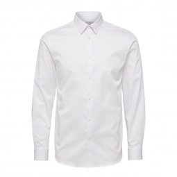 Chemise cintrée Selected en coton stretch blanc repassage facile
