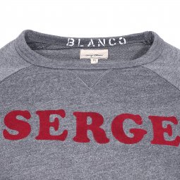 Sweat col rond Serge Blanco gris anthracite floqué