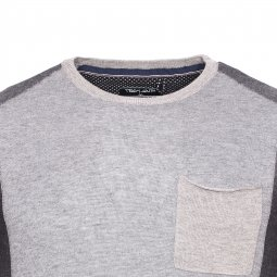Pull col rond Teddy Smith Pokos gris clair et anthracite