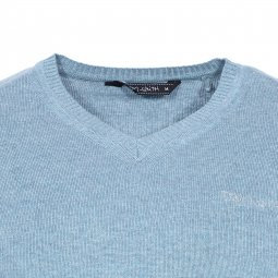 Pull col V Teddy Smith Pulser en coton bleu clair chiné