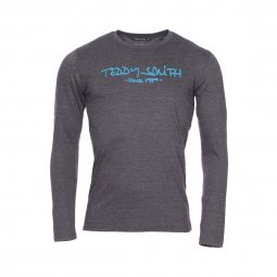 Tee-shirt manches longues Ticlass 3 Teddy Smith en coton anthracite chiné floqué