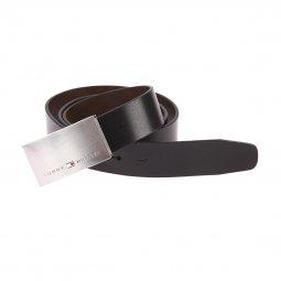 680b96a7bb98 ... Coffret ceinture ajustable Tommy Hilfiger en cuir noir réversible marron  à boucle rectangulaire argentée et boucle