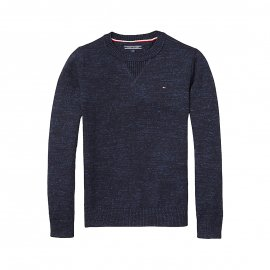 Pull col rond Tommy Hilfiger Junior bleu marine chiné