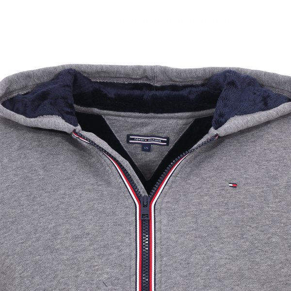Sweat zippé à capuche Tommy Hilfiger Junior gris