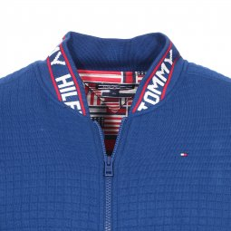 Sweat zippé Tommy Hilfiger Junior bleu roi à col brodé