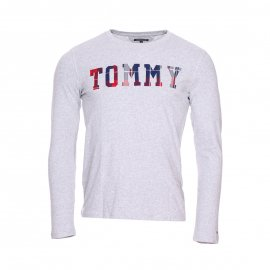 Tee-shirt manches longues col rond Tommy Hilfiger Junior gris floqué