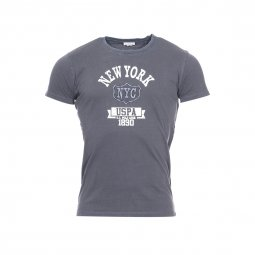 Tee-shirt col rond U.S. Polo Assn. en coton gris avec inscritpion New York USPA