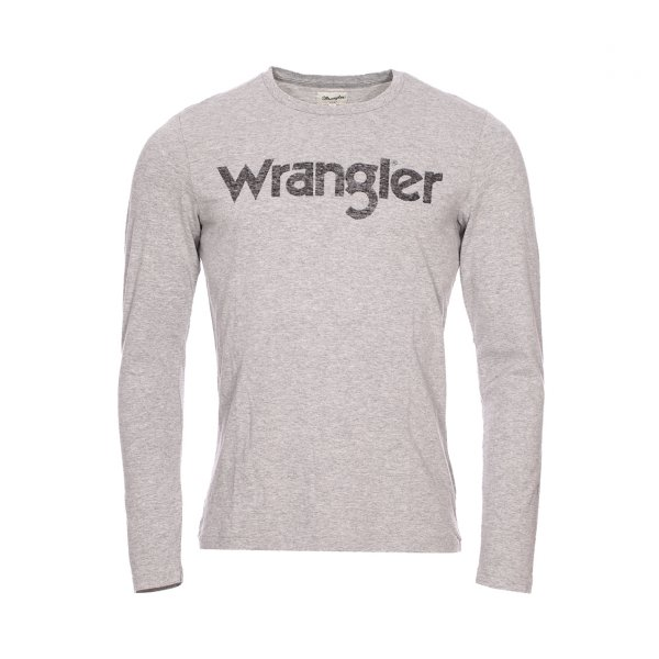 Tee-shirt manches longues col rond Wrangler gris floqué