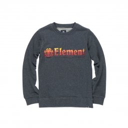 Sweat col rond Element Junior Horizontal Fill en coton gris chiné floqué