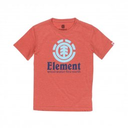 Tee-shirt col rond Element Junior Vertical en coton rouge chiné floqué du logo