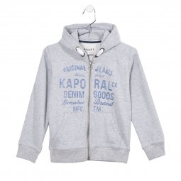 Sweat à capuche zippé Kaporal Junior Rydu gris chiné