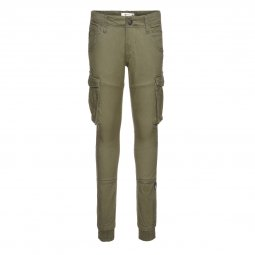 Pantalon cargo Name it Nitbamgo en sergé de coton stretch kaki