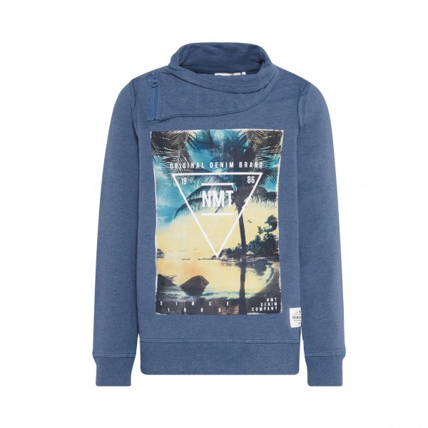 Sweat Name it en coton mélangé bleu vintage floqué