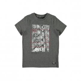 Tee-shirt col rond Name it en coton mélangé gris anthracite chiné floqué