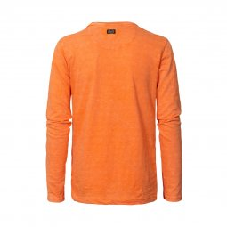 Tee-shirt manches longues col rond Petrol Industries Junior en coton flammé orange floqué