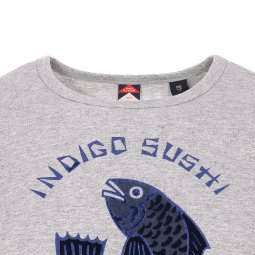 Tee-shirt col rond Scotch & Soda Junior en coton mélangé gris chiné floqué