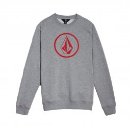 Sweat col rond Volcom Junior Stone gris chiné floqué en rouge