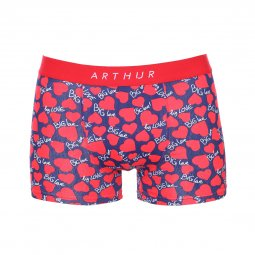 Lot de 2 boxers Arthur en coton stretch rouge et bleu marine à cœurs rouges