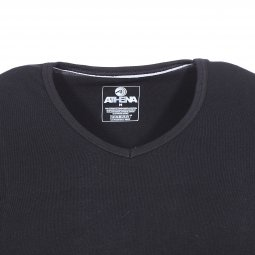 Lot de 2 tee-shirts col V Athena en jersey de coton stretch noir, innovation anti-odeur