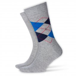 Lot de 2 paires de chaussettes Everyday Mix Burlington en coton gris chiné à losanges bleus et gris chiné uni